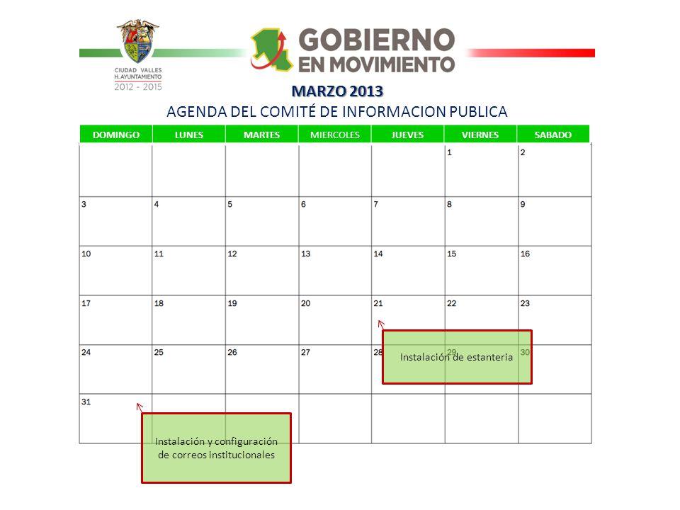 MARZO 2013 AGENDA DEL COMITÉ DE INFORMACION PUBLICA