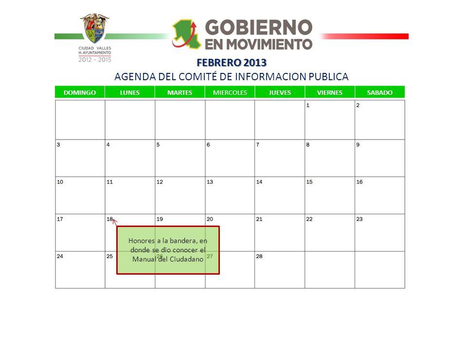 FEBRERO 2013 AGENDA DEL COMITÉ DE INFORMACION PUBLICA