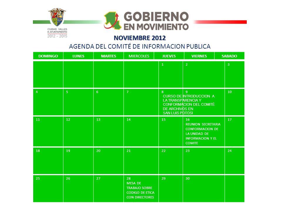 NOVIEMBRE 2012 AGENDA DEL COMITÉ DE INFORMACION PUBLICA