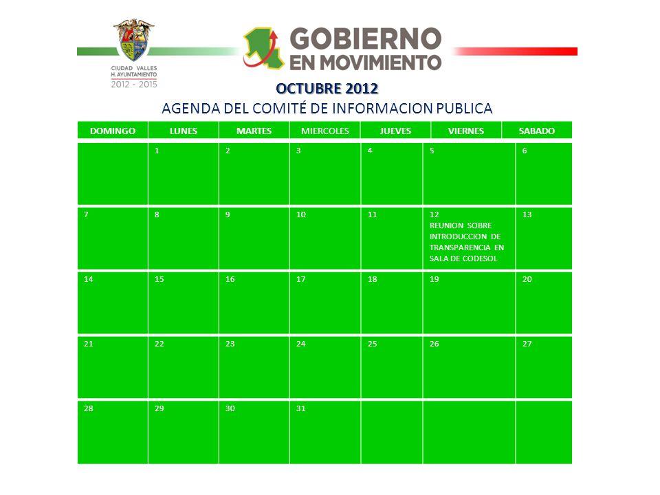 OCTUBRE 2012 AGENDA DEL COMITÉ DE INFORMACION PUBLICA
