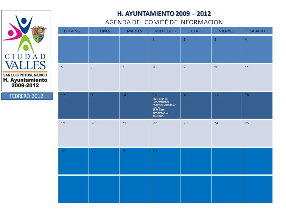 H. AYUNTAMIENTO 2009 – 2012 AGENDA DEL COMITÉ DE INFORMACION