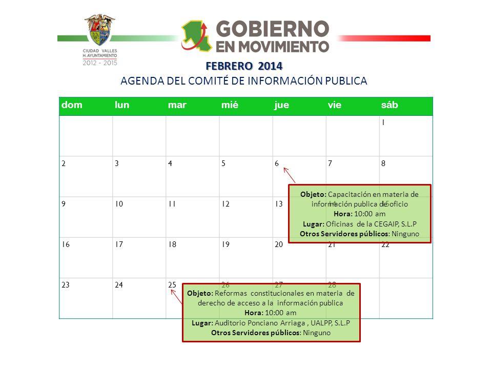 FEBRERO 2014 AGENDA DEL COMITÉ DE INFORMACIÓN PUBLICA