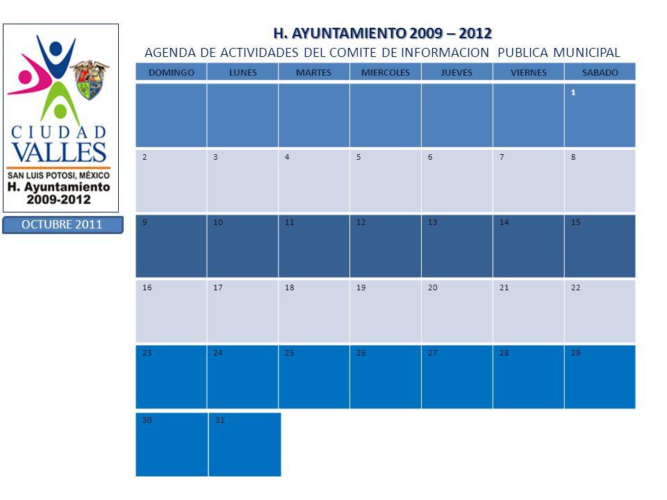 H. AYUNTAMIENTO 2009 – 2012 AGENDA DE ACTIVIDADES DEL COMITE DE INFORMACION PUBLICA MUNICIPAL