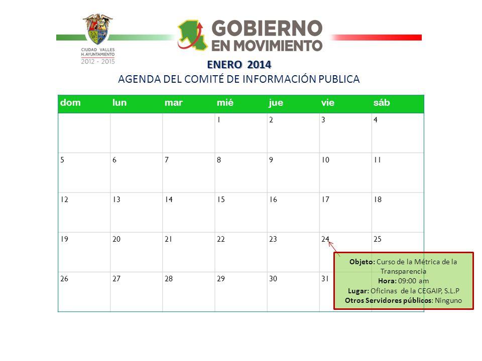 ENERO 2014 AGENDA DEL COMITÉ DE INFORMACIÓN PUBLICA
