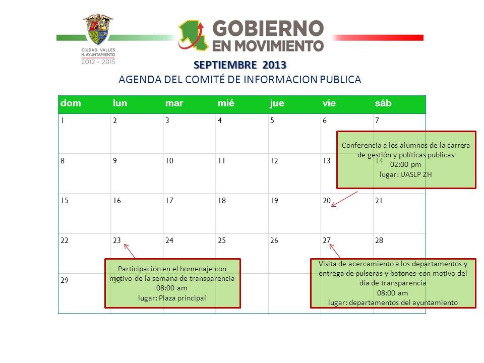 SEPTIEMBRE 2013 AGENDA DEL COMITÉ DE INFORMACION PUBLICA