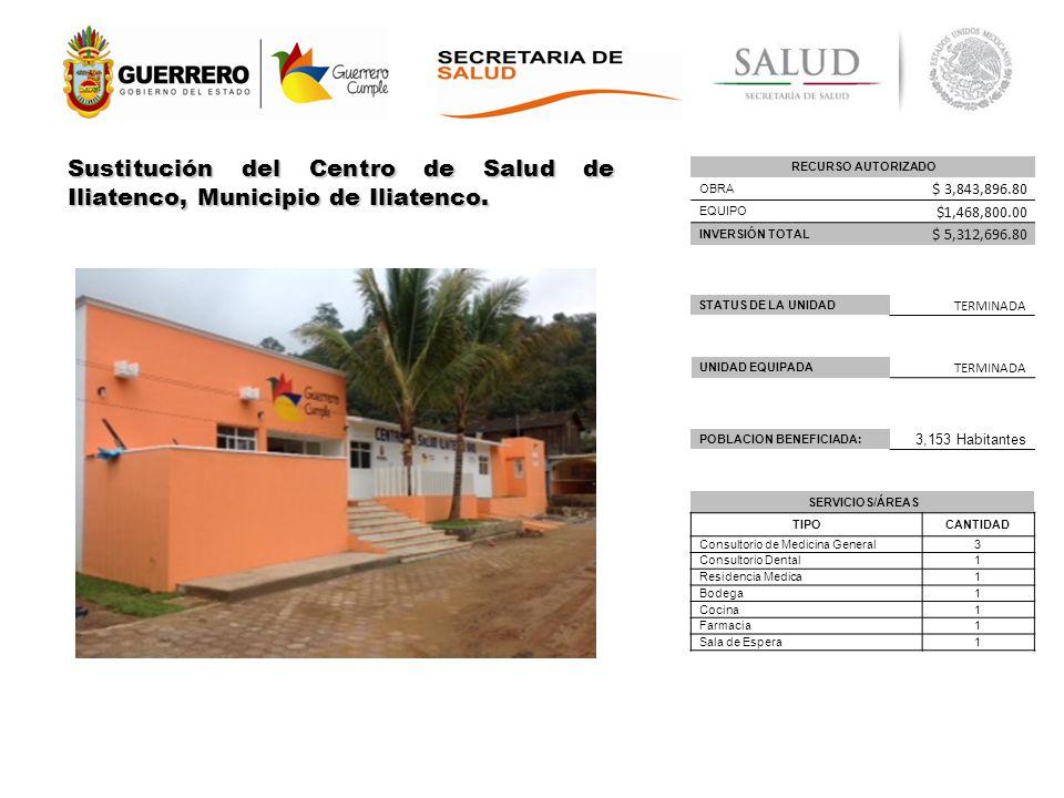 Sustitución del Centro de Salud de Iliatenco, Municipio de Iliatenco.