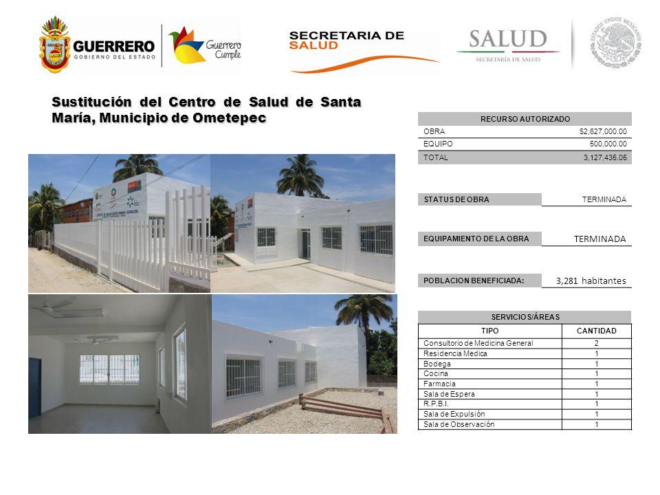 Sustitución del Centro de Salud de Santa María, Municipio de Ometepec