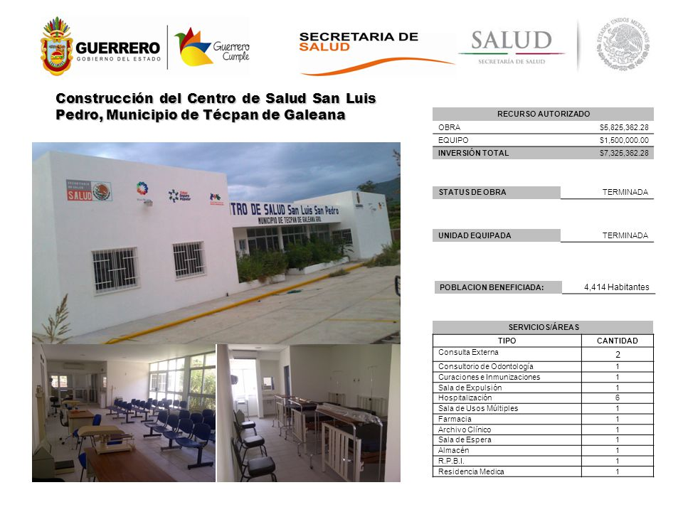 Construcción del Centro de Salud San Luis Pedro, Municipio de Técpan de Galeana