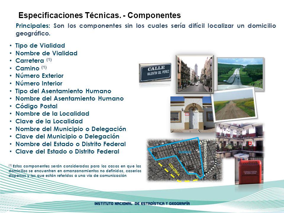 Especificaciones Técnicas. - Componentes