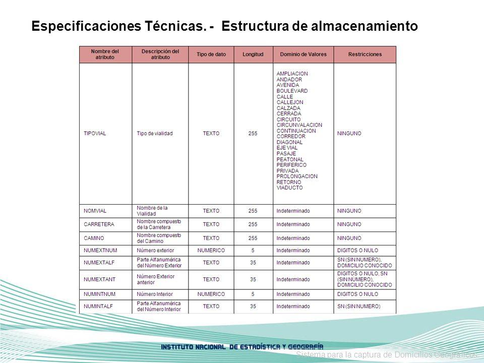 Especificaciones Técnicas. - Estructura de almacenamiento