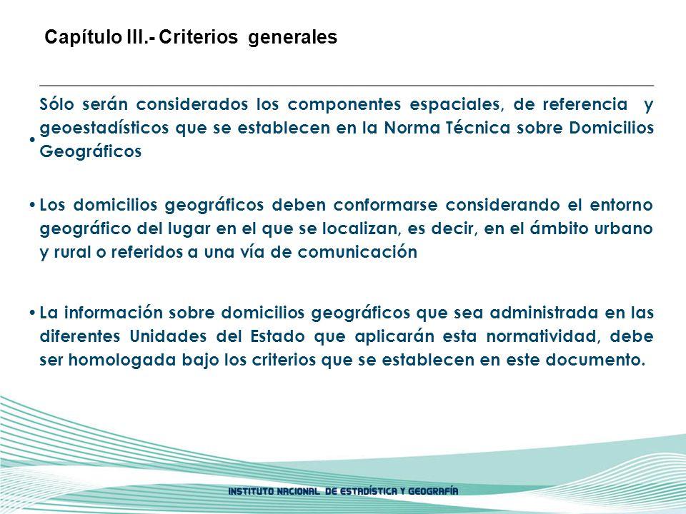 Capítulo III.- Criterios generales