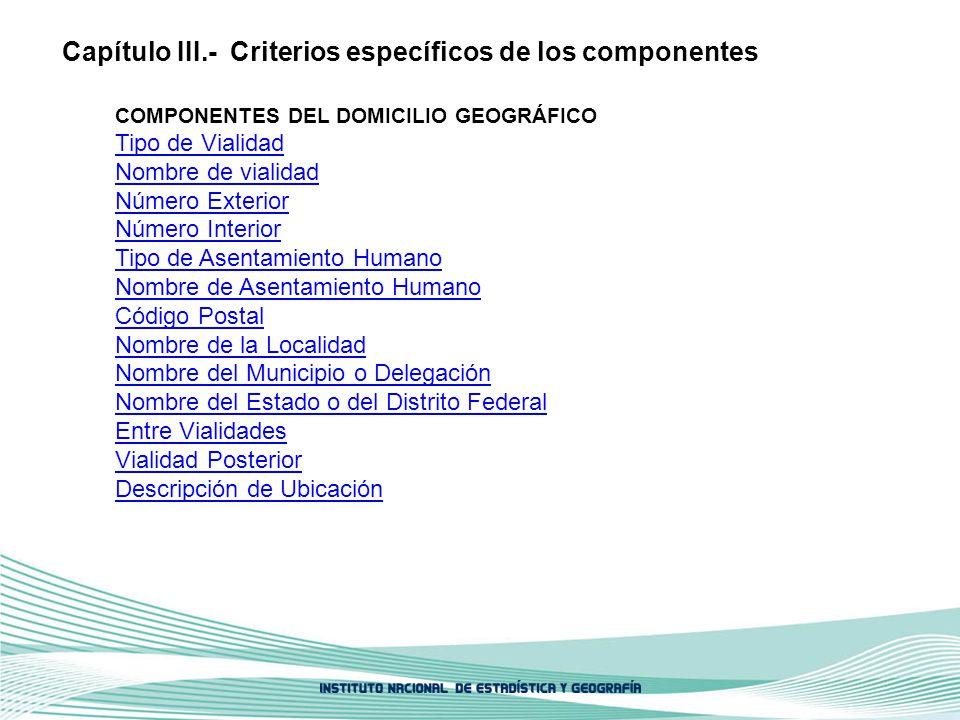 Capítulo III.- Criterios específicos de los componentes