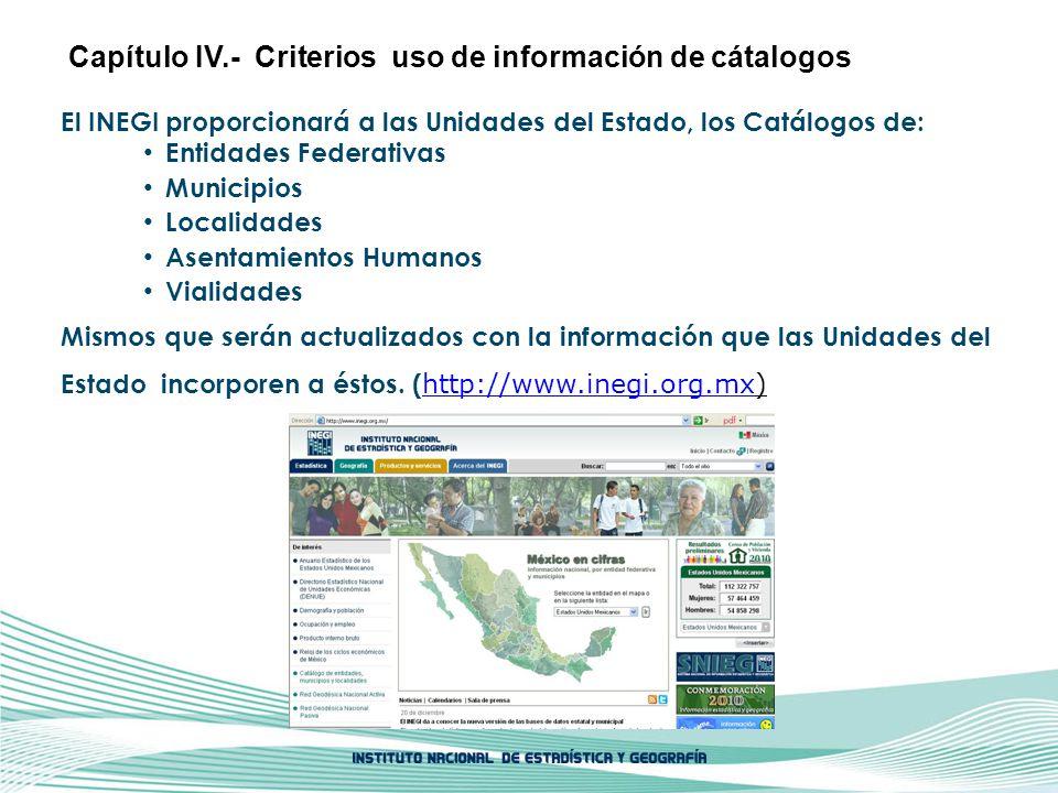 Capítulo IV.- Criterios uso de información de cátalogos