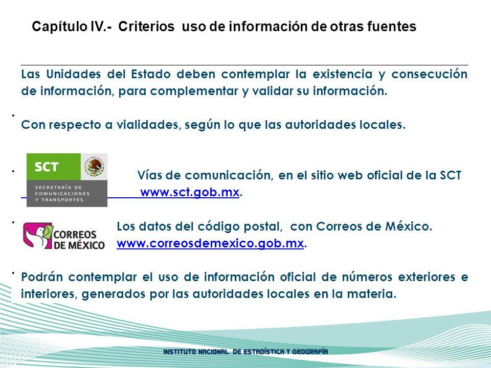 Capítulo IV.- Criterios uso de información de otras fuentes
