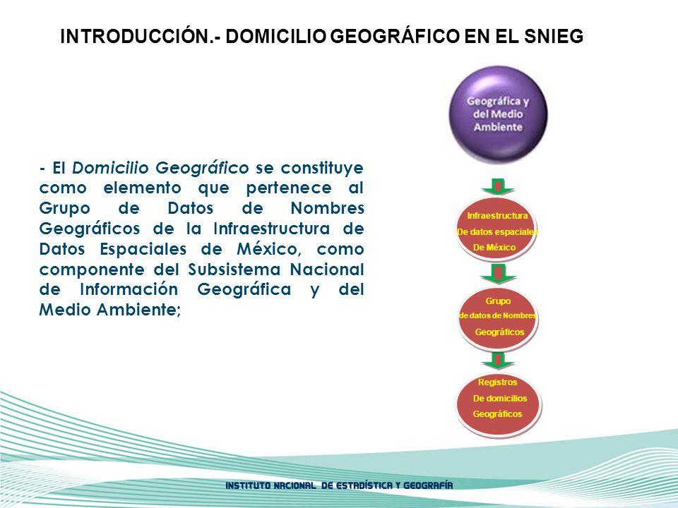 DOMICILIO GEOGRÁFICO EN EL SNIEG