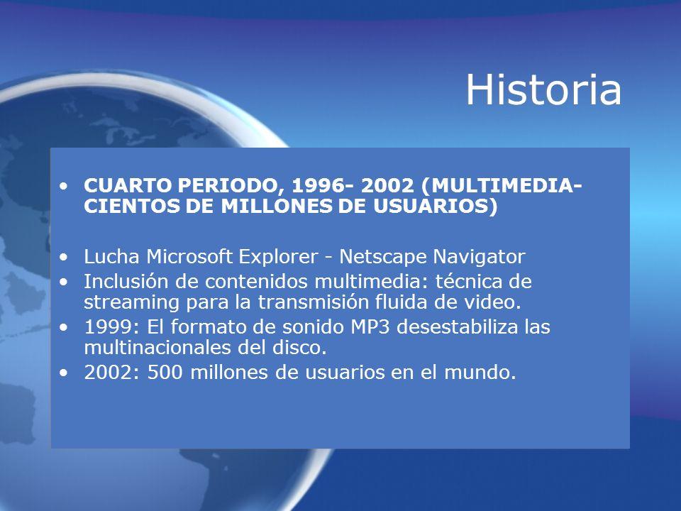 Historia CUARTO PERIODO, 1996- 2002 (MULTIMEDIA-CIENTOS DE MILLONES DE USUARIOS) Lucha Microsoft Explorer - Netscape Navigator.