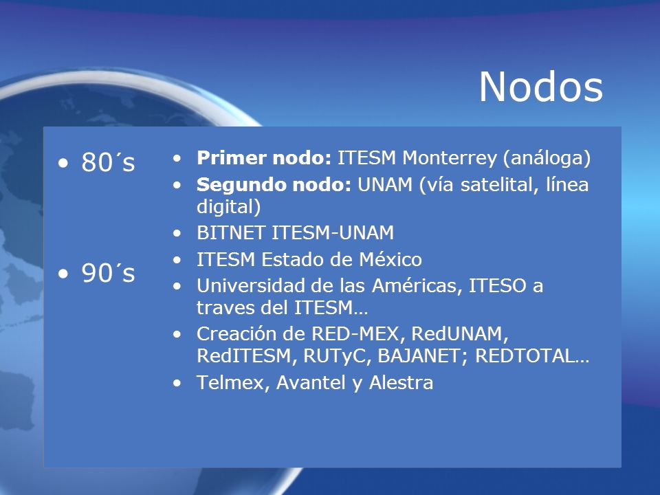 Nodos 80´s 90´s Primer nodo: ITESM Monterrey (análoga)