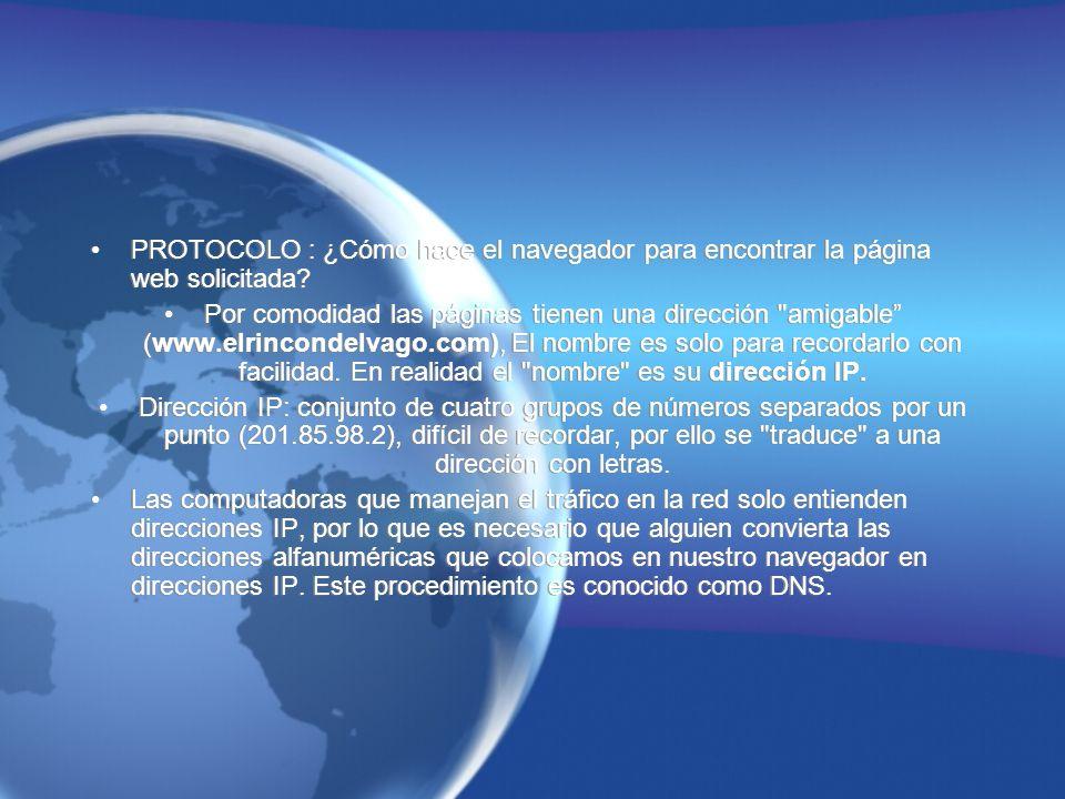 PROTOCOLO : ¿Cómo hace el navegador para encontrar la página web solicitada