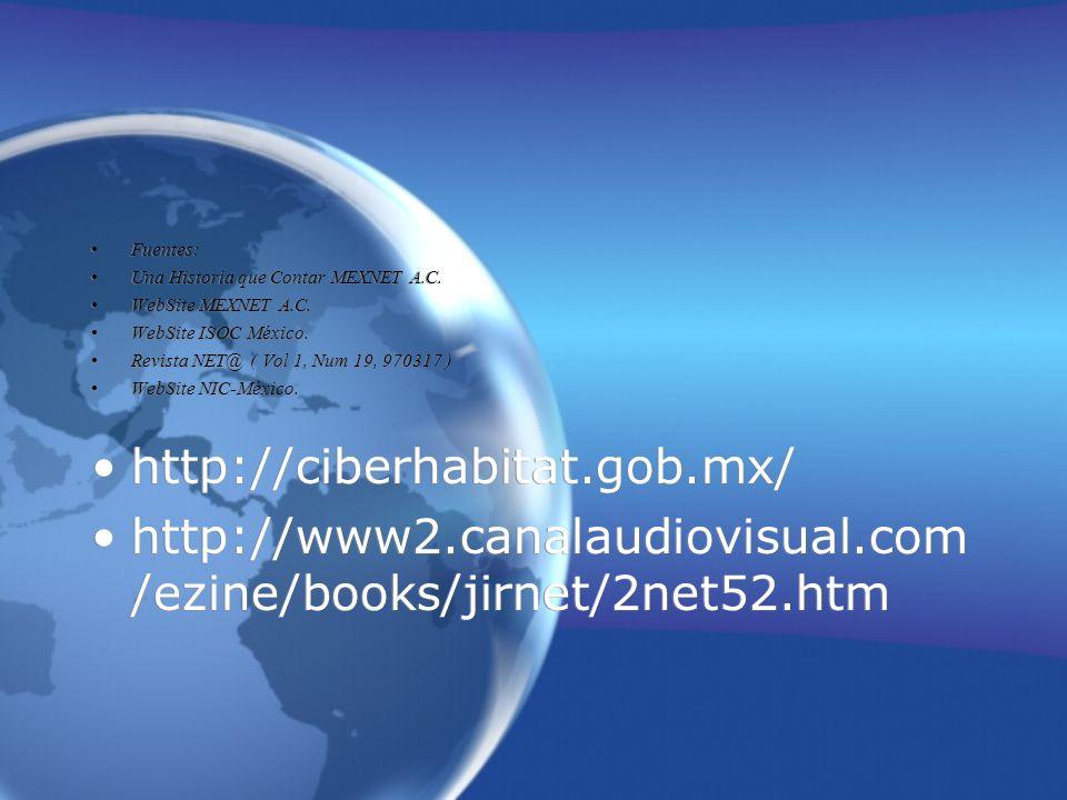 Fuentes: Una Historia que Contar MEXNET A.C. WebSite MEXNET A.C. WebSite ISOC México. Revista NET@ ( Vol 1, Num 19, 970317 )