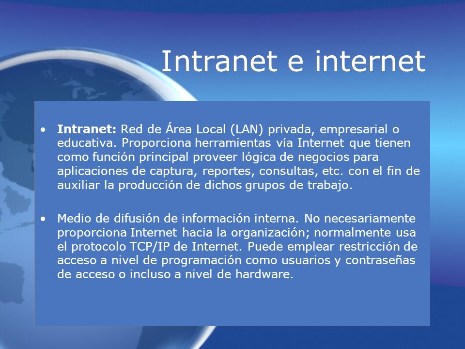 Intranet e internet