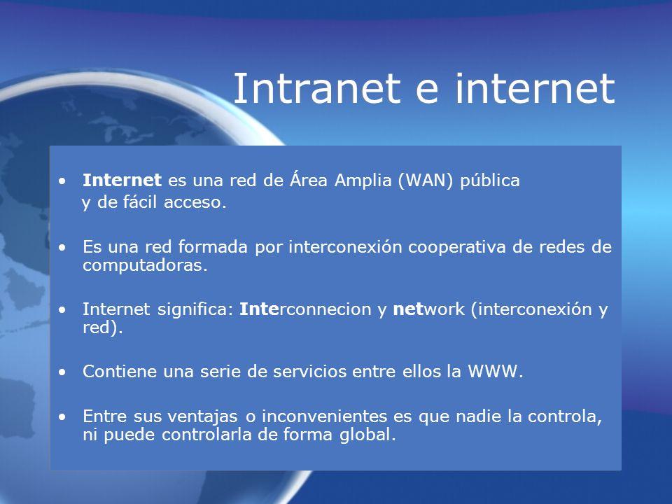 Intranet e internet Internet es una red de Área Amplia (WAN) pública