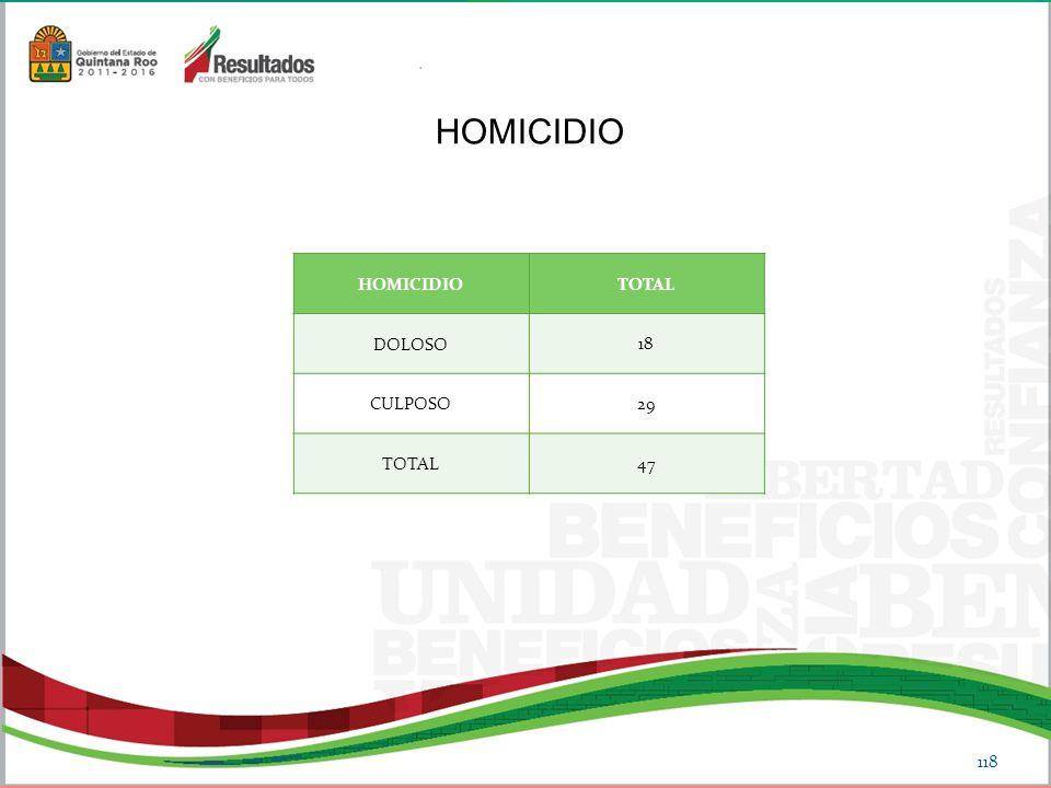 HOMICIDIO HOMICIDIO TOTAL DOLOSO 18 CULPOSO 29 47