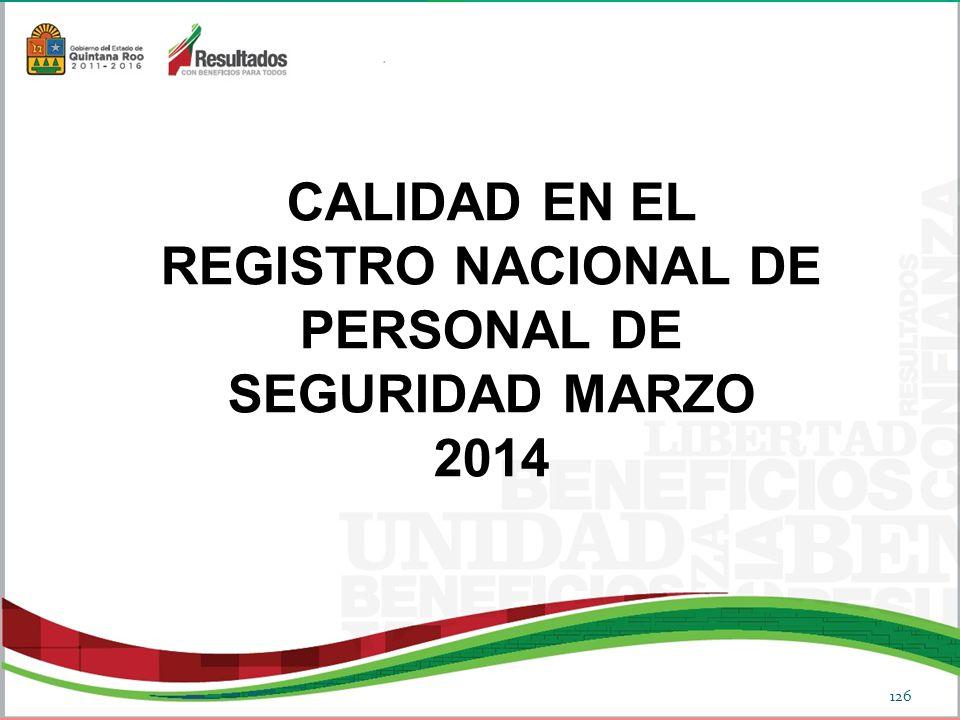 CALIDAD EN EL REGISTRO NACIONAL DE PERSONAL DE SEGURIDAD MARZO