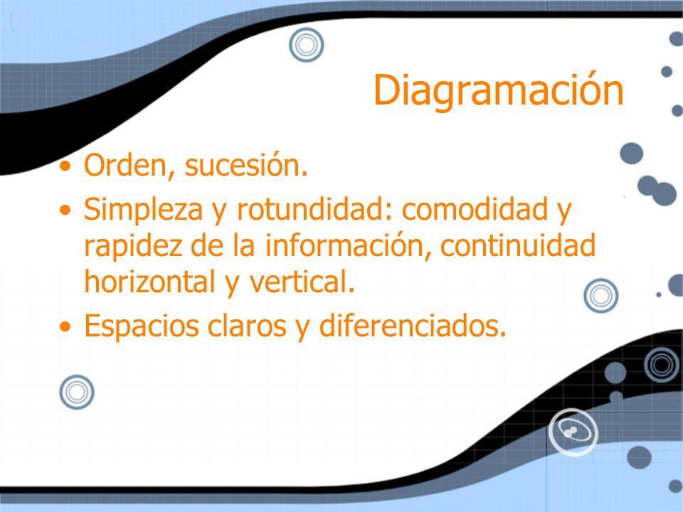 Diagramación Orden, sucesión.