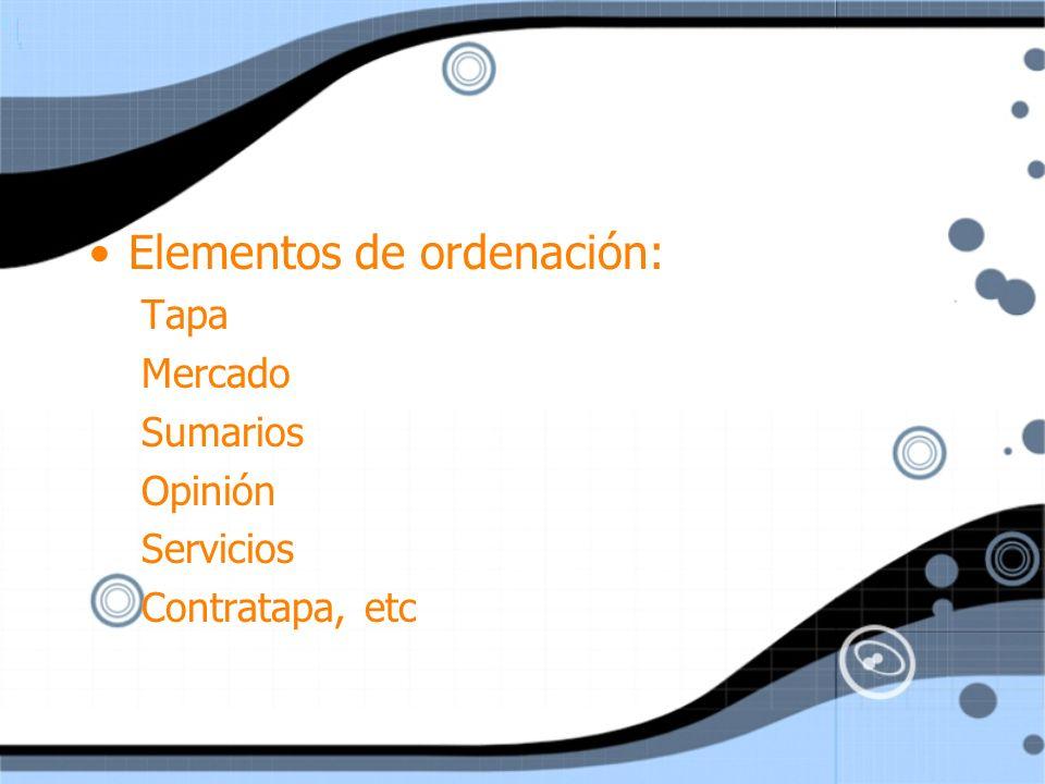 Elementos de ordenación: