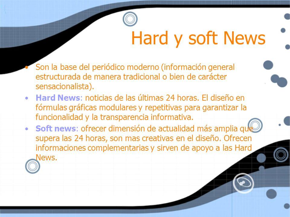 Hard y soft News Son la base del periódico moderno (información general estructurada de manera tradicional o bien de carácter sensacionalista).