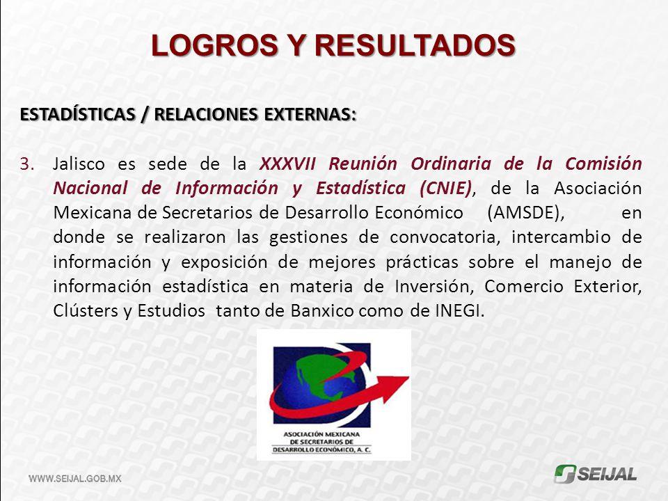 LOGROS Y RESULTADOS ESTADÍSTICAS / RELACIONES EXTERNAS: