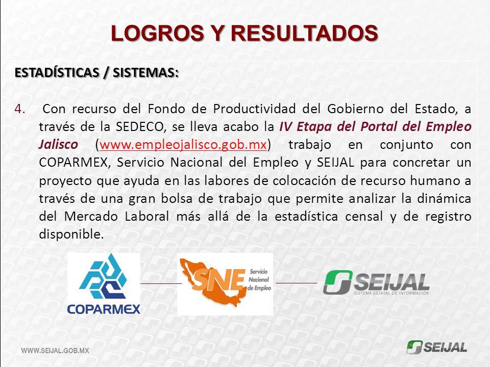 LOGROS Y RESULTADOS ESTADÍSTICAS / SISTEMAS: