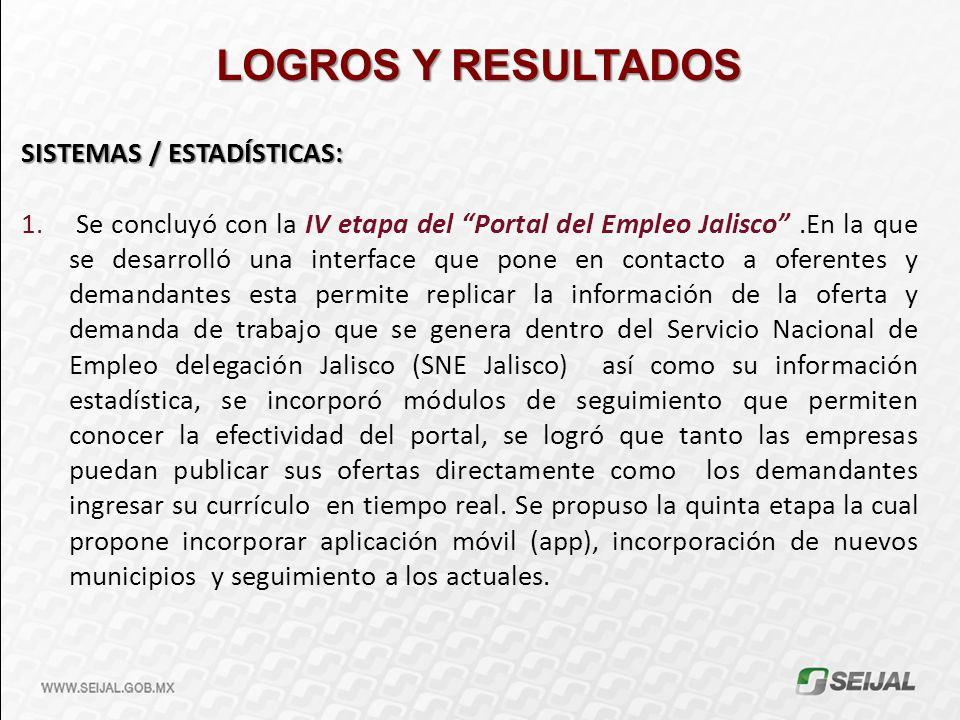 LOGROS Y RESULTADOS SISTEMAS / ESTADÍSTICAS: