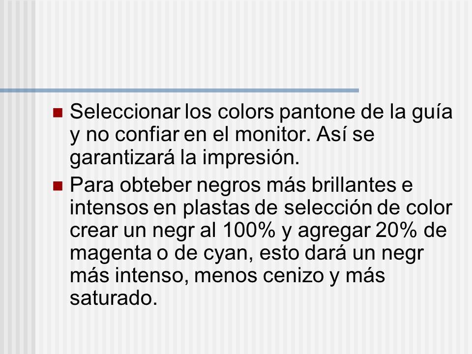 Seleccionar los colors pantone de la guía y no confiar en el monitor