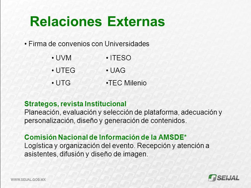 Relaciones Externas Firma de convenios con Universidades