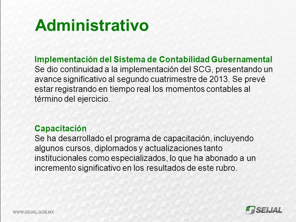 Administrativo Implementación del Sistema de Contabilidad Gubernamental.