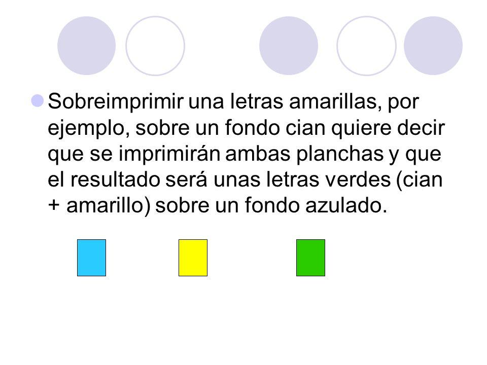 Sobreimprimir una letras amarillas, por ejemplo, sobre un fondo cian quiere decir que se imprimirán ambas planchas y que el resultado será unas letras verdes (cian + amarillo) sobre un fondo azulado.