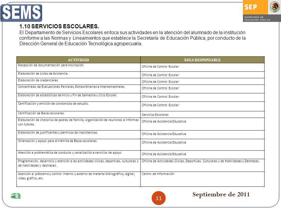 Septiembre de 2011 1.10 SERVICIOS ESCOLARES.