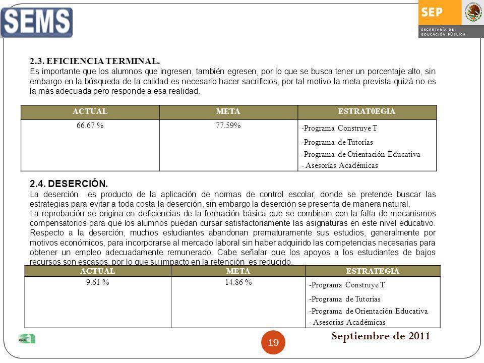 Septiembre de 2011 2.3. EFICIENCIA TERMINAL. 2.4. DESERCIÓN.