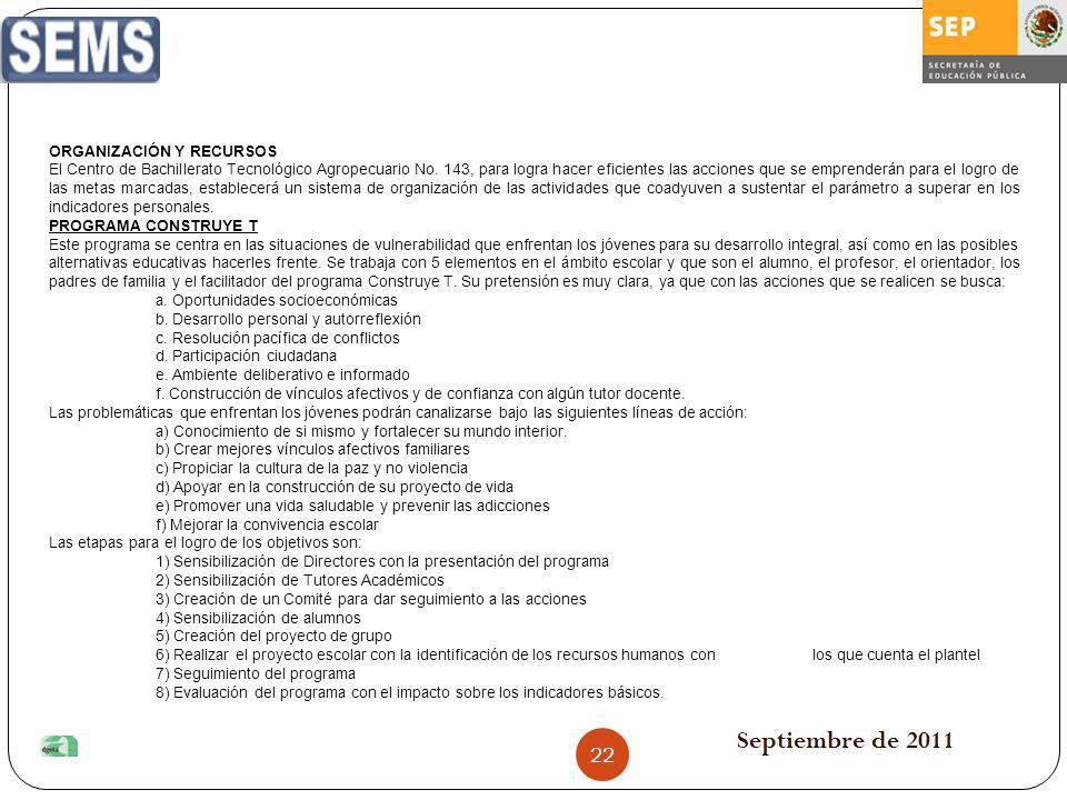 Septiembre de 2011 ORGANIZACIÓN Y RECURSOS