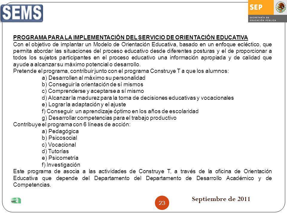 PROGRAMA PARA LA IMPLEMENTACIÓN DEL SERVICIO DE ORIENTACIÓN EDUCATIVA