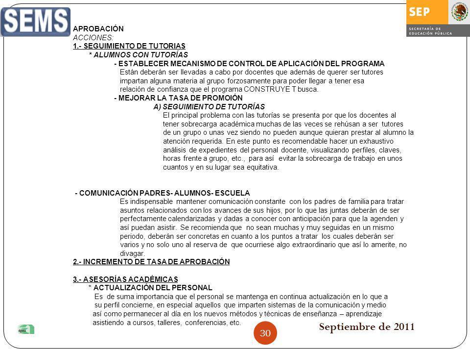 Septiembre de 2011 APROBACIÓN ACCIONES: 1.- SEGUIMIENTO DE TUTORIAS