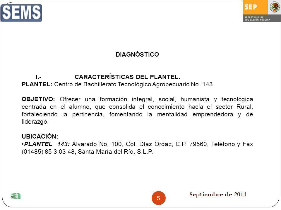 Septiembre de 2011 DIAGNÓSTICO I.- CARACTERÍSTICAS DEL PLANTEL.