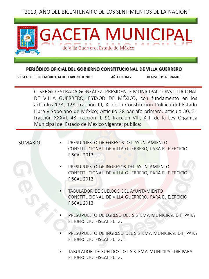 2013, AÑO DEL BICENTENARIO DE LOS SENTIMIENTOS DE LA NACIÓN