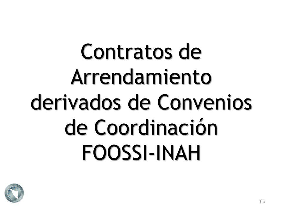 Contratos de Arrendamiento derivados de Convenios de Coordinación