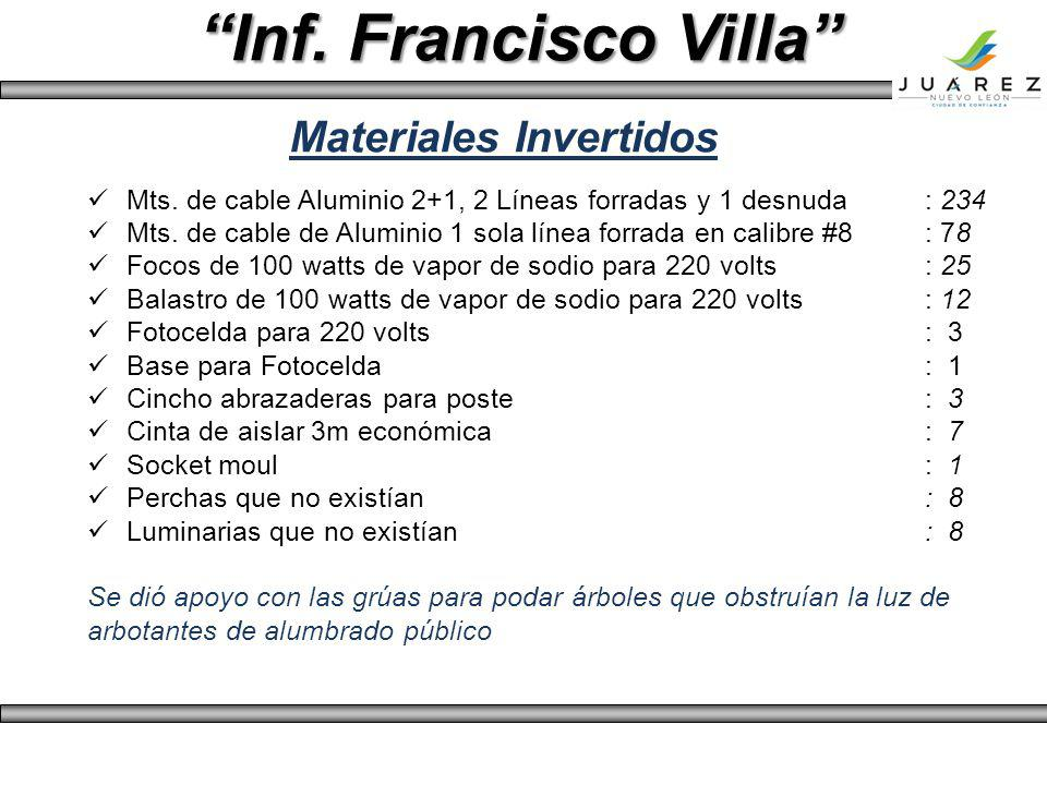 Inf. Francisco Villa Materiales Invertidos