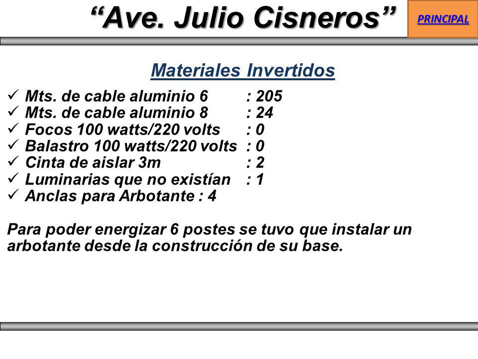 Ave. Julio Cisneros Materiales Invertidos