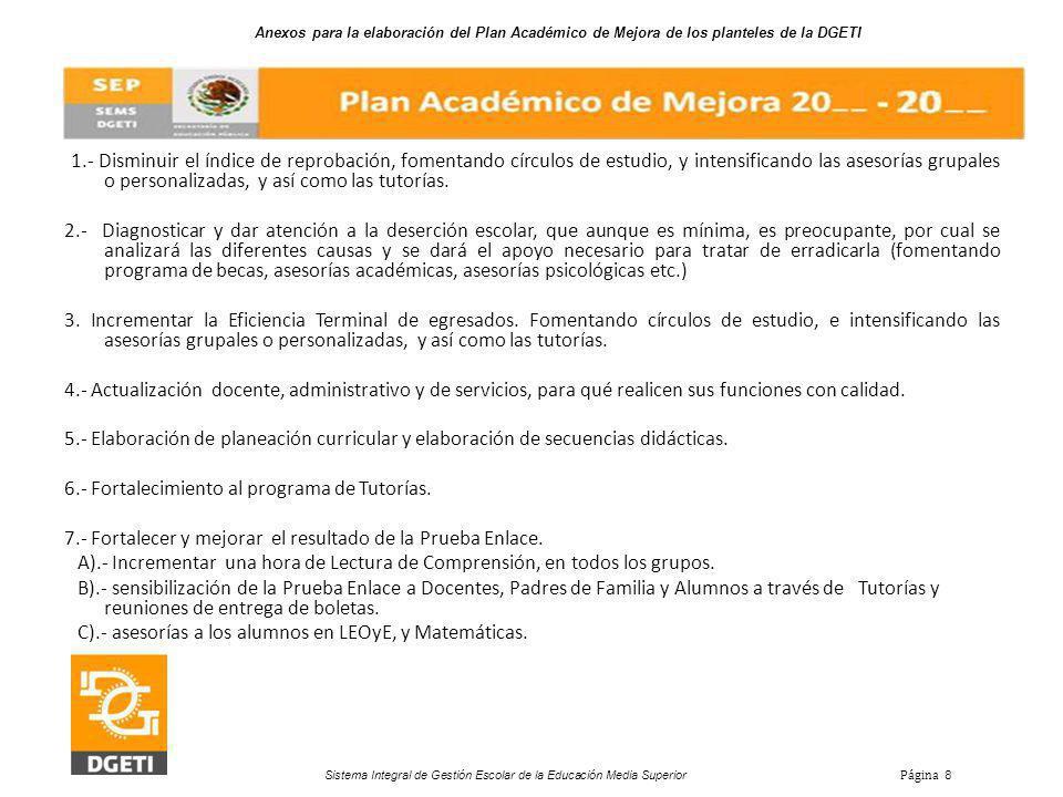 6.- Fortalecimiento al programa de Tutorías.
