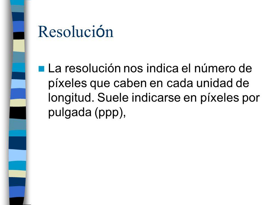 Resolución La resolución nos indica el número de píxeles que caben en cada unidad de longitud.