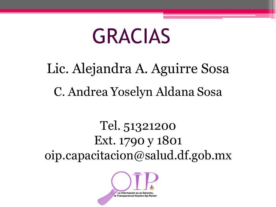 GRACIAS Lic. Alejandra A. Aguirre Sosa C. Andrea Yoselyn Aldana Sosa